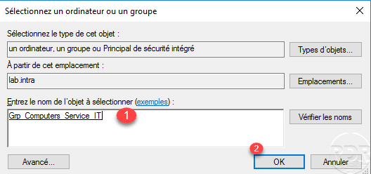 authentication policy, select the AD group / Stratégie d'authentification, sélectionner le groupe AD