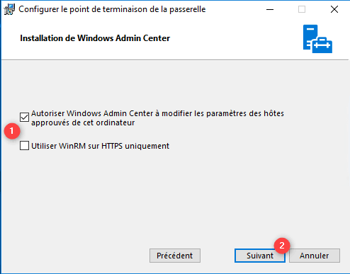 Configuration de l'accès distant de  l'admin center