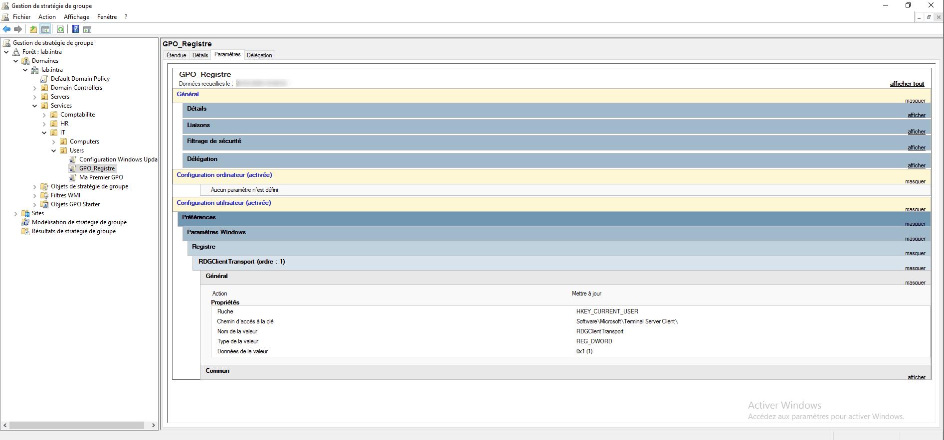 GPO : ajouter une clef registre