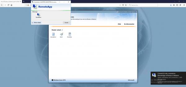 Ouverture de l'application RemoteApp