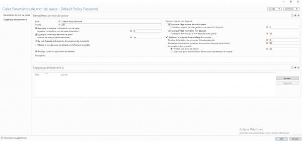 Stratégie de mot de passe : configuration