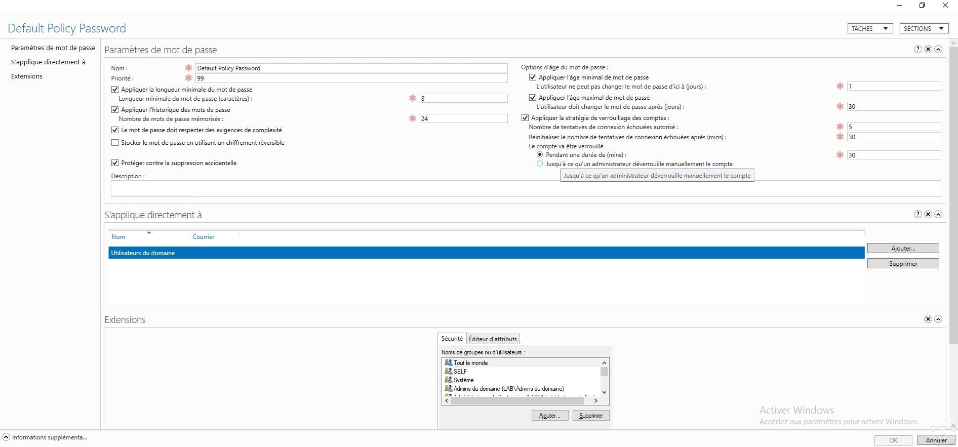 Active Directory : stratégie de mot de passe – PSO