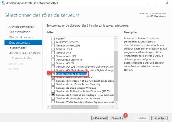 Select the role: Remote Desktop Service
