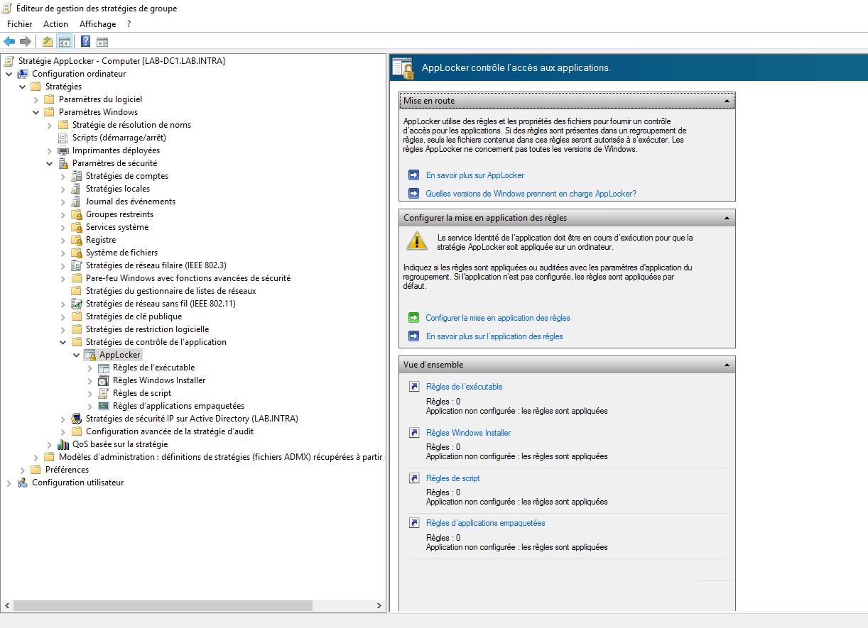AppLocker : configuration dans un environnement Active Directory