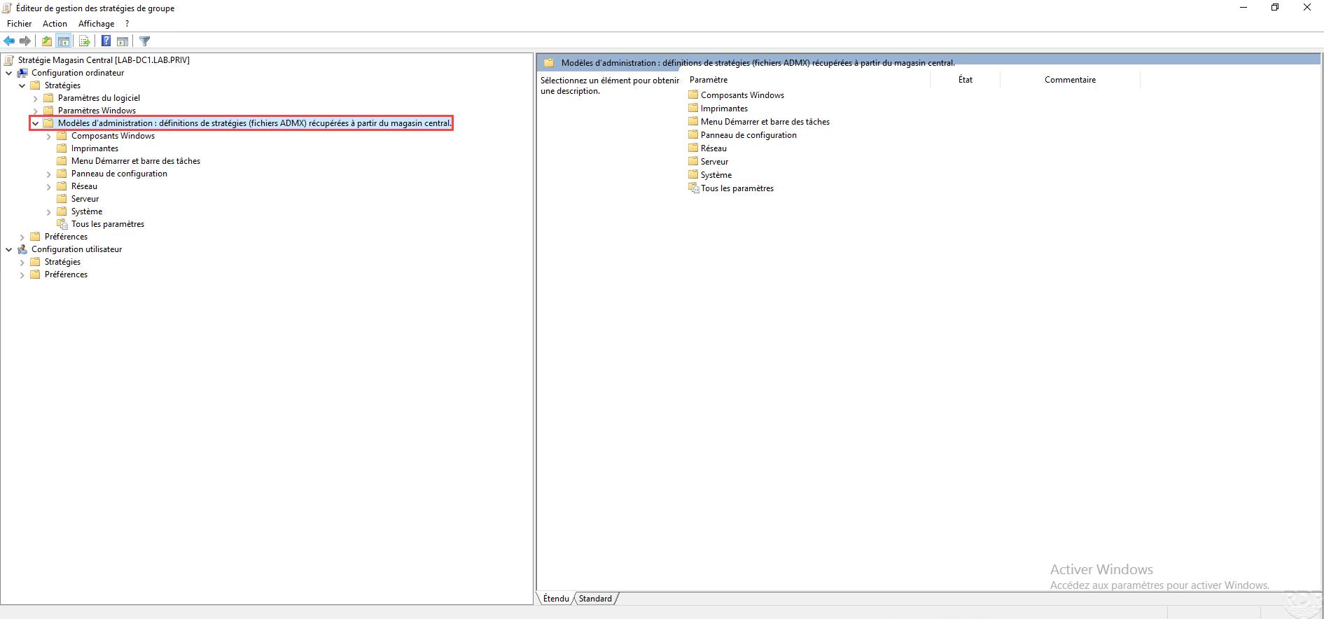 Active Directory : configurer un magasin central pour les fichiers ADMX / ADML