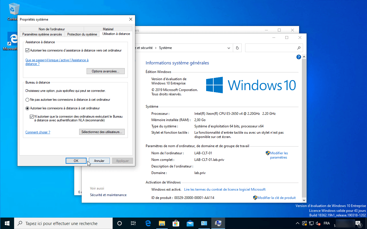 Windows 10 : activer le bureau à distance