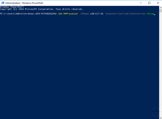 Activation de la virtualisation imbriquée en powershell