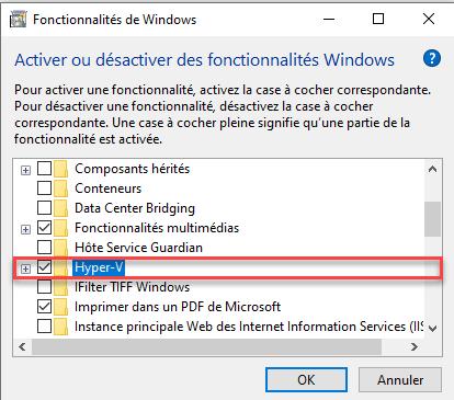 Check the box to install Hyper-V