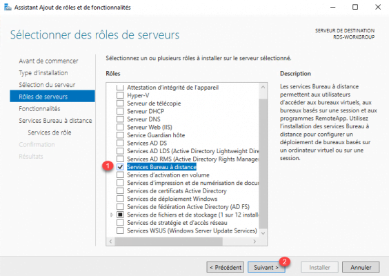 Select the Remote Desktop Services role