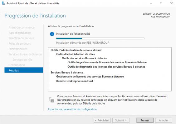 Wait while installing Remote Desktop Services