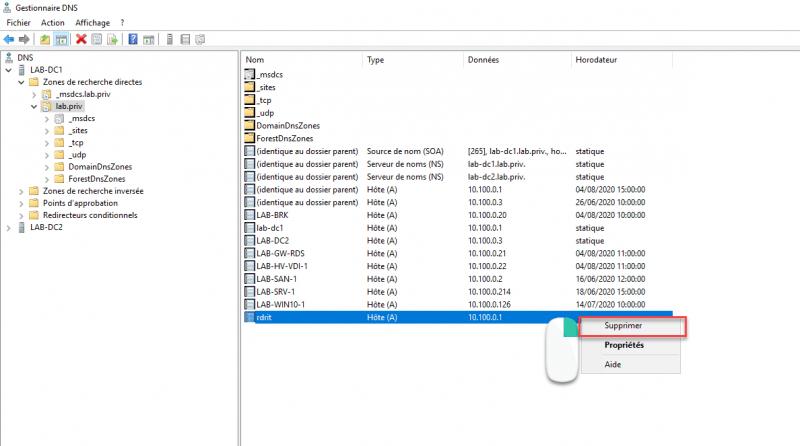 Right click on DNS record and click delete