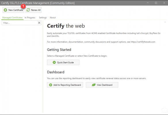 Certify The Web - GUI - Home