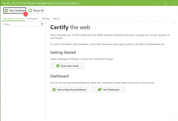 Create a new certificate Let's Encrypt