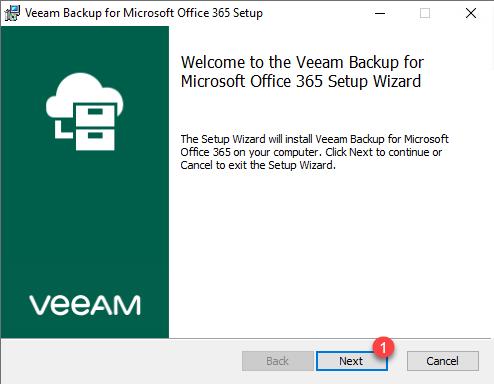 Wizard install Veeam Backup Office 365