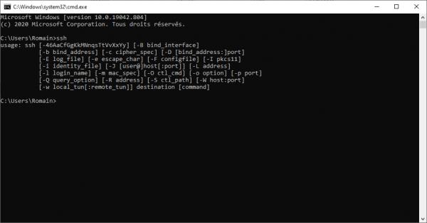 Client SSH in Windows 10
