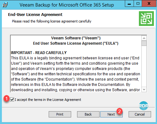 Accepter la licence de Veeam Backup Office 365