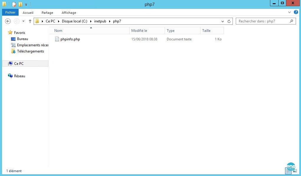 Fichier phpinfo.php dans le dossier du site