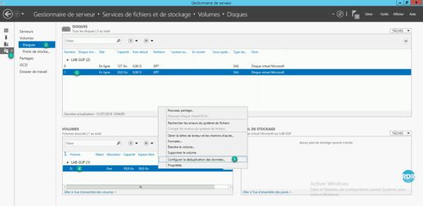 Configuration de la déduplication par le gestionnaire de serveur