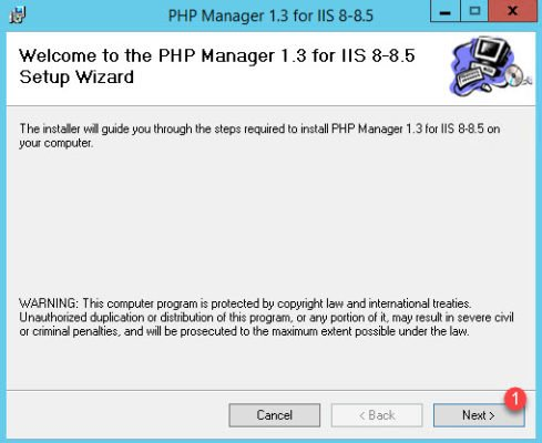 Programme d'installation de PHP Manager for IIS
