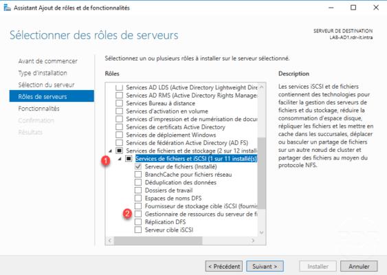 Sélection du le fonctionnalité : Gestionnaire de ressources du serveur de fichiers