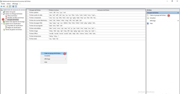 Liste des groupes de fichiers