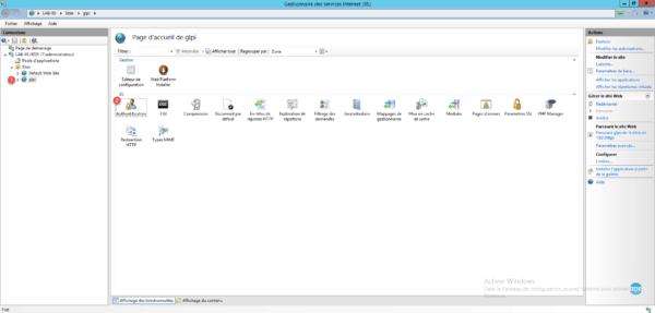 Console IIS site GLPI