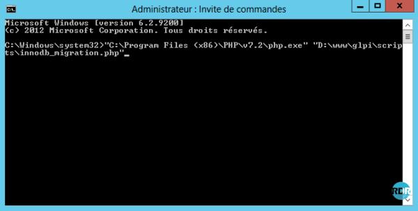Invite de commande GLPI migration INNODB