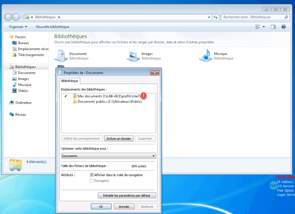 Redirection sur Windows 7