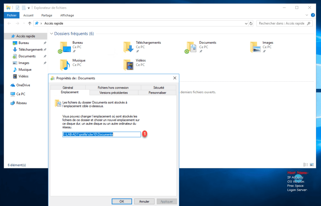 Redirection sur Windows 10