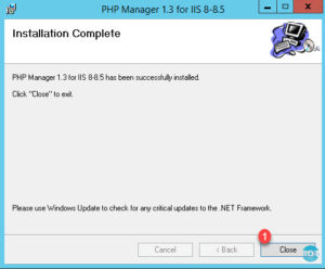 Installation de PHP Manager for IIS terminée