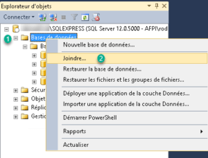 Attacher un base à SQL Server