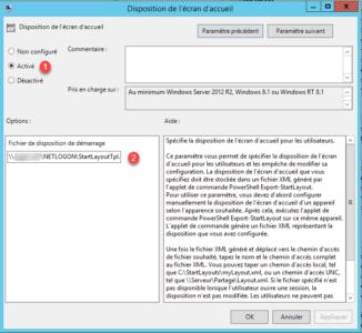 Activation de la GPO et spécification du fichier XML