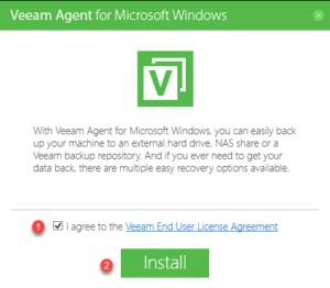 Veeam Agent : accept license