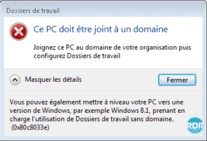 Message d'erreur Windows 7