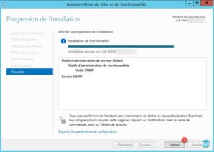 SNMP : installation terminée, fermer l'assistant