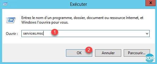 SNMP : exécuter services.msc